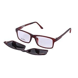 O-LET Eyeglass Frames for Prescription with Clip On Sunglasses Polarized for Women Men (7012-Red)