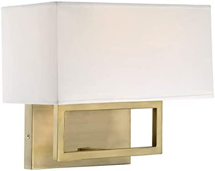 Trade Winds Lighting TW021924NB 2-Light White Fabric Shade Wall Sconce Light