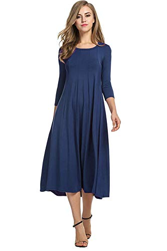 Hotouch Women's Casual Plain 3/4 Sleeve Simple Tshirt Loose Dress (Navy Blue S)
