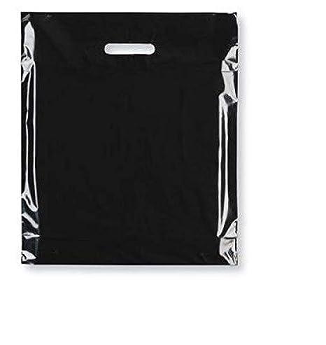 boutiques de cadeaux Noir boutiques Sabco Lot de 100 sacs de transport /à poign/ée patch 20,3 x 30,5 cm Color/é Fashion Sac en plastique r/ésistant pour shopping