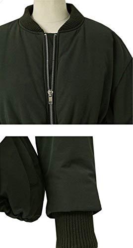 Chaqueta Mujer Jacket Casuales Grandes Chaqueta Elegante Moda Stand Armygreen Tallas De Estilo Larga Sólido con Cuello Especial Otoño Cremallera Manga Color Temporada 7wxqdIFI