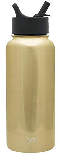 Simple Modern 32 oz Summit Water Bottle with Straw Lid - Gifts for Men & Women Hydro Vacuum Insulated Tumbler Flask Double Wall Liter - 18/8 Stainless Steel -Gold Chrome
