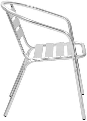 Tidyard Chaises Empilables d'extérieur Confort élégant et Pratique 4 Pcs Aluminium