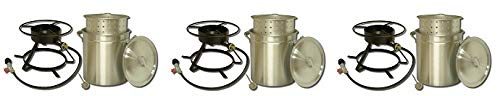 King Kooker 5012 Portable Propane Outdoor Boiling and Steaming Cooker Package with 50-Quart Aluminum Pot and Steaming Basket (3-(Pack))
