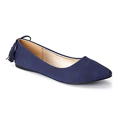 Trary Women's Casual Pointed Toe Slip on Ballet Flat Shoes Blue Size: 5