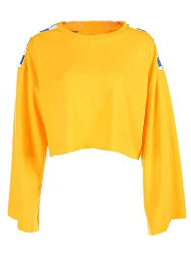 Larga Sweatshirt Ocasionales De Sudaderas Mujeres Top Crop Tops Round College Casuales Neck Empalme Fashionable Manga Pullover Amarillo Short Plaid wz08PzqX