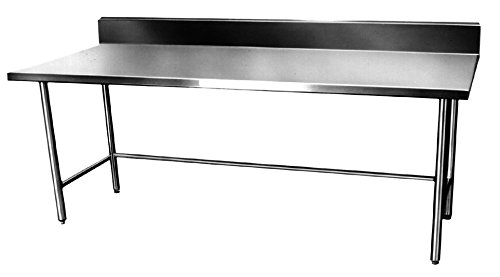 Winholt DTBB-2484 Foodservice and Design Series Boxed Stainless Steel Work Tables with Backsplash, 16 Gauge, 84