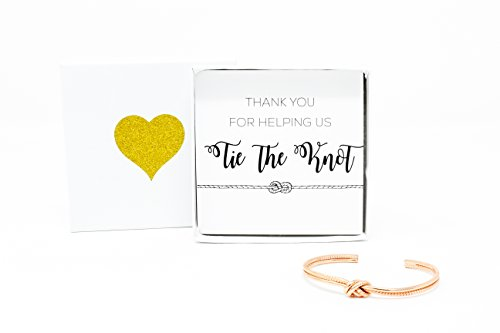 Lemon Honey Jewelry Bridesmaid Gifts - Tie The Knot Thank You Bracelet w/Gift Box, Sailor Bridal Party Gift Sets, Adjustable Love Knot Cuff Bracelet (Gold, Rose Gold, Silver) (Rose Gold) by Lemon Honey Jewelry