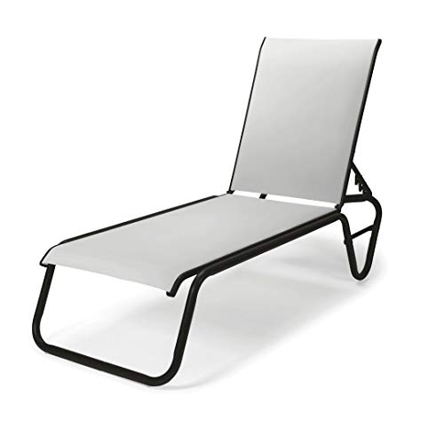 Telescope Casual Furniture Gardenella Sling Collection Four-Position Lay-Flat Stacking Aluminum Armless Chaise, White, Textured Graphite Finish