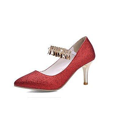 Otoño boda Zapatos las aguja cadena banquete Talones y Comfort Gore brillo de de Verano del noche mujeres TasselRed Red de Primavera club de oro Invierno vestido tacón t1OOxY
