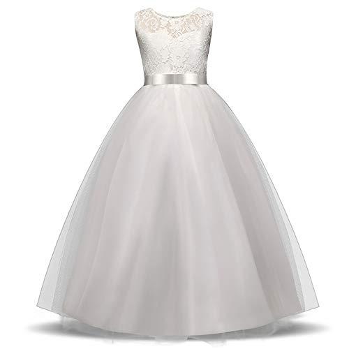 White Flower Girls Dresses for Wedding Lace Long Girl Dress Party Christmas Dress Children Princess Costume for Kids(White 6,6T)]()