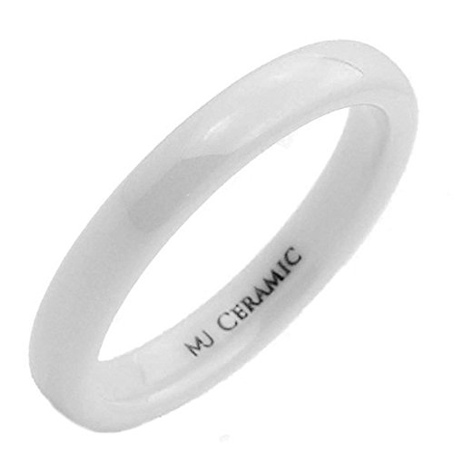 MJ Metals Jewelry 3mm White Ceramic Wedding Ring Classic High Polished Band Size 5.5 -