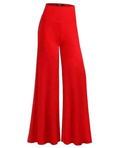 Loose Rosso Gamba Boemia Donna Pantaloni Pantaloni Casual Palazzo Pantaloni Spiaggia Larga xnE6T