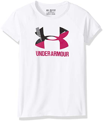 Under Armour Girls Solid Big Logo Short Sleeve T-Shirt,White /Honeysuckle, Youth ()