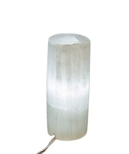 - White Selenite Electric Lamp Natural Gemstones Crystals with Cord and Bulb Cylindrical 7