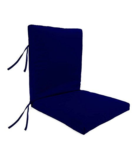 - Plow & Hearth Classic Polyester Outdoor Large Club Chair Cushion With Ties, 44'' x 22'' with hinge 22'' from bottom - Midnight Navy