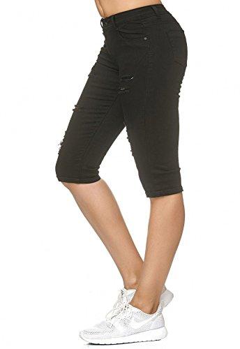 Capri Jeans Noir Pantalon 4 Extensibles pour Femme Short Shorts l' 3 D2242 ArizonaShopping q6FtE