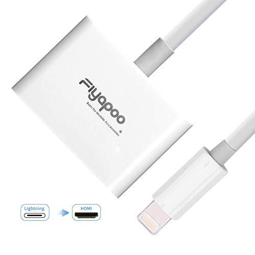 FIYAPOO Lighting to HDMI Digital AV Adapter,1080P HDTV Converter with Lighting Charging Port for iPhone iPad and iPod