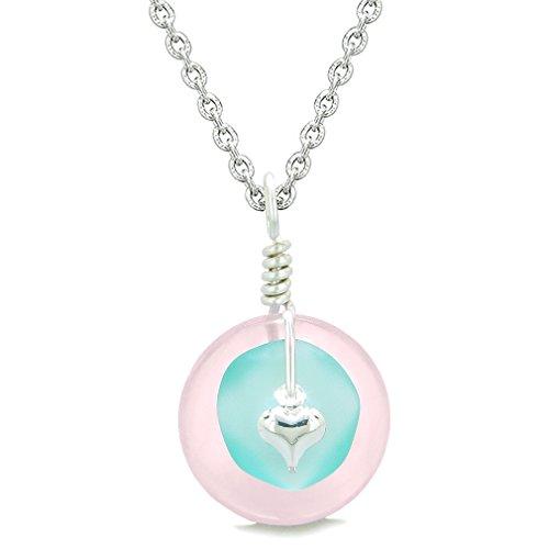 Sea Glass Aqua Blue Heart Lucky Charm and Rose Quartz Coin Shaped Donut Magic Amulet 18 Inch (Blue Quartz Pendant)