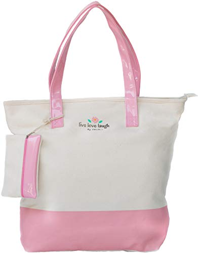Girl Large Tote - Sheila's Canvas Shoulder Bag, Pink Lining, Top Zip, 2 Inner Pocket, Coin Pouch, Women & Girls Daily HandBag, Large