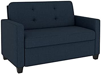 Signature Sleep Devon Sleeper Sofa with Memory Foam Mattress, Blue Linen,  Twin