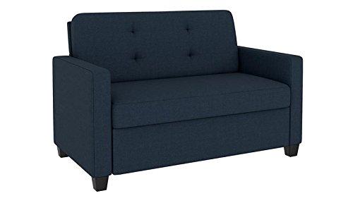 Signature Sleep Devon Sleeper Sofa with Memory Foam Mattress, Blue Linen, Twin