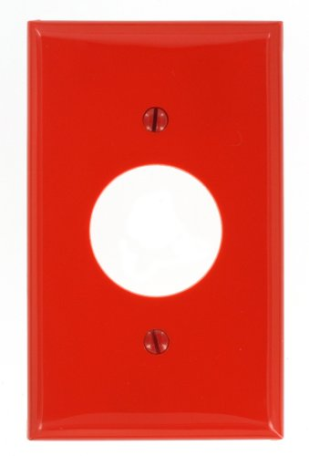 Leviton 80704-R 1-Gang Single 1.406-Inch Hole Device Receptacle Wallplate, Red