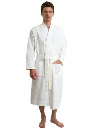 TowelSelections Men's Waffle Bathrobe Turkish Cotton Kimono Robe Large/X-Large Ivory