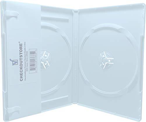 CheckOutStore (10) Premium Standard Double 2-Disc DVD Cases 14mm (White) Double 2 Dvd Cases