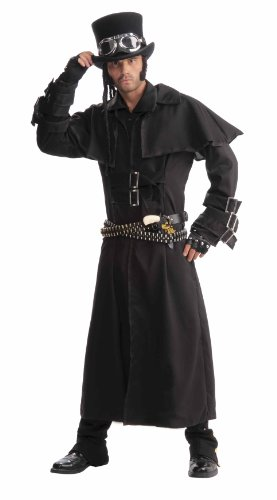 Men's Steampunk Duster Coat, Black, One Size
