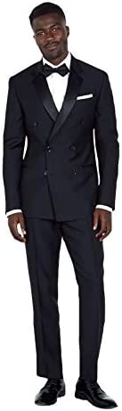 メンズダブルブレストノッチ襟2枚スーツドレスジャケットパンツ