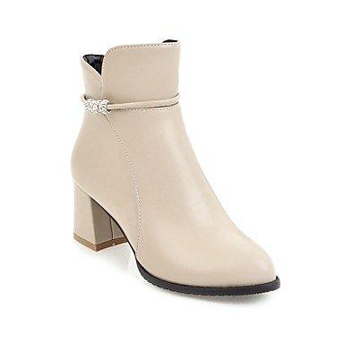 für Casual CN35 Damenschuhe Heel Spitzschuh 5 Stiefel Stiefel Bootie Herbst EU36 Booties Stiefel Knöchel Chunky US5 UK3 Winter Reißverschluss Strass RTRY Kunstleder Mode 5 Tgqaa