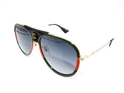 Authentic GUCCI Dark Green Gold Pilot Sunglasses GG0062S - ()