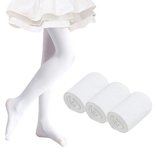 Ehdching Pack of 3 Kids Toddler Girls Baby Soft Microfiber Ballet Dance Tights Velvet Stockings Pantyhose -