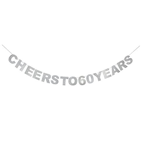 waway Cheers to 60 Birthday Banner Silver Glitter Heart for 60th Anniversary 60 Years Old Birthday Party Decoration Supplies ()