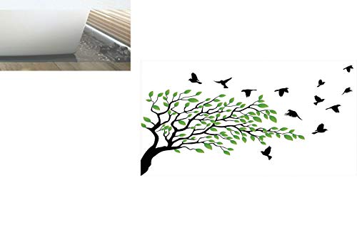 Decorative Privacy Window Film/Spring Tree with Silhouette of Flyind Birds Wind Liberty Peace Design Living/No-Glue Self Static Cling for Home Bedroom Bathroom Kitchen Office Decor Green Black White