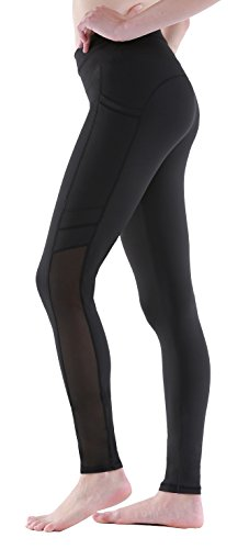 Sudawave Womens Mesh Capri Workout Yoga Running Pants Active Tights Leggings With Side Pocket (Small, Black( Ankle )) (Pocket Ankle Crop)