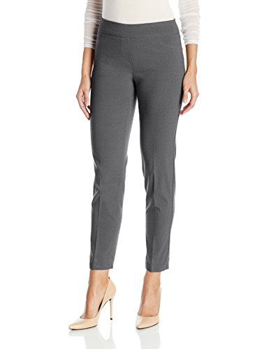 Gray Charcoal Dress Pants (SLIM-SATION Women's Wide Band Pull On Ankle Pant Tummy Control, Charcoal, 14)