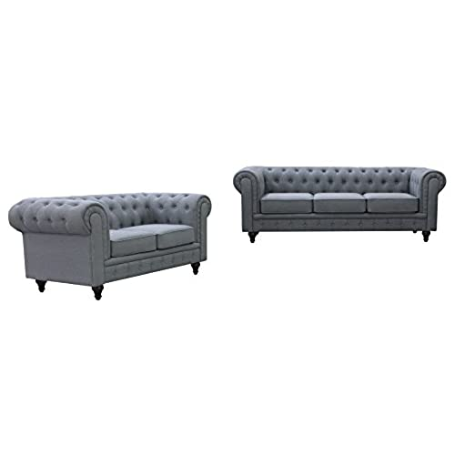 US Pride Furniture S5070 2PC Linen Fabric Chesterfield Sofa Set, Grey