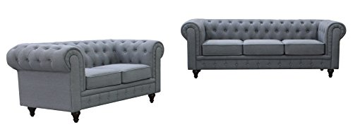 US Pride Furniture S5070-2PC Linen Fabric Chesterfield Sofa Set, Grey