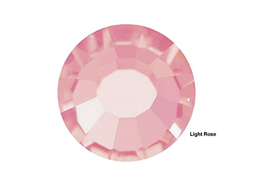 Light Czech Crystal (Preciosa Genuine Czech Crystals, 144pcs in size ss20 (5 mm), Light Rose, Viva Chaton Roses (Viva12 MC Rhinestone Flatbacks), pink, 20ss)