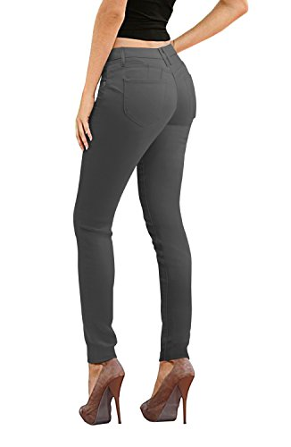 Dash Denim - Women's Butt Lift Stretch Denim Jeans-P37370SK-gunmetal-1