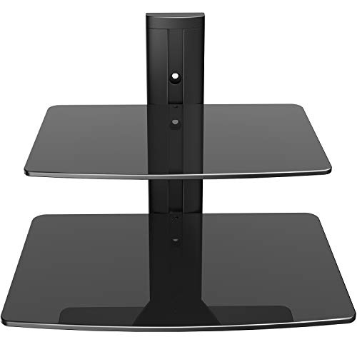 PERLESMITH Floating Wall Mounted Shelf Double AV Shelf with Strengthened Tempered Glasses for DVD Players,Cable Boxes, Games Consoles, TV Accessories - Holds up to 22 - Wall Dvd Mounted