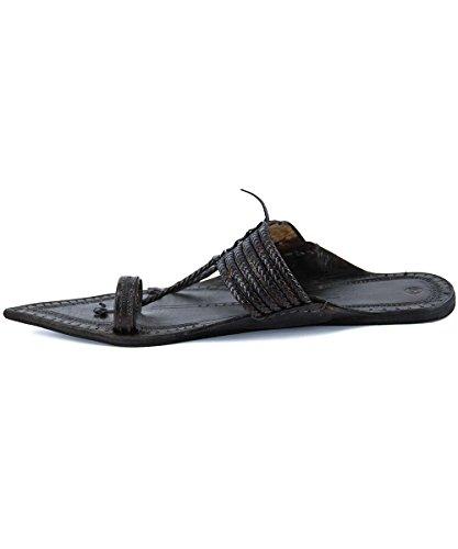 For Extra Black Original Kolhapuri Men Slipper Gorgeous Chappal Braided Six Sandal Pointed Z8Z6Saqw