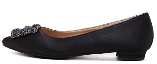 IDIFU Womens Dressy Rhinestones Low Top Slip On Satin Flats Shoes Black PzTiRBHmtx