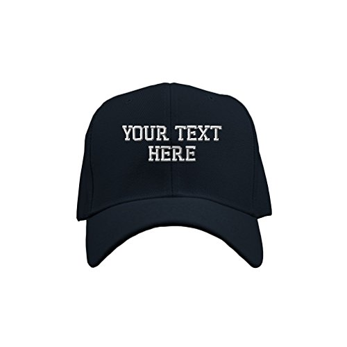 Personalize Your Custom Text On Unisex Adult Hook & Loop Acrylic Adjustable Structured Baseball Hat Cap - Navy, One ()