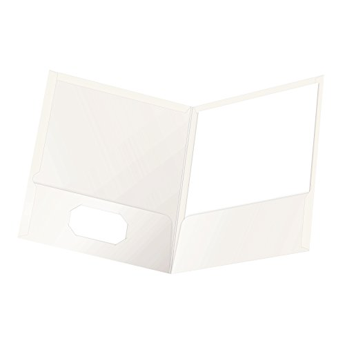 Oxford Laminated Twin-Pocket Folders, Letter Size, White, Holds 100 Sheets, Box of 25 (51704EE) ()