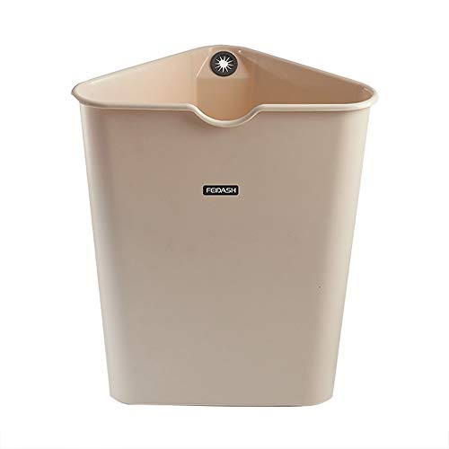 (FTLY Triangular Trash Can Modern Plastic 8L Trash Bin Creative Simple Japanese Style Trash Can Uncovered Household Simple Rubbish Bin Bedroom Living Room Bathroom Waste Bin (Color : Khaki))