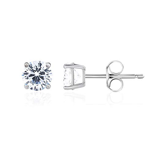 Eternity Setting Ring Prong (Rhodium Plated 925 Sterling Silver Cubic Zirconia Classic Basket Prong Set Eternity Stud Earrings, 5mm)