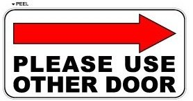 picture regarding Please Use Other Door Sign Printable referred to as Be sure to Employ the service of Other Doorway Directly Arrow - Office Keep Doorway Indicator - Window Wall Sticker